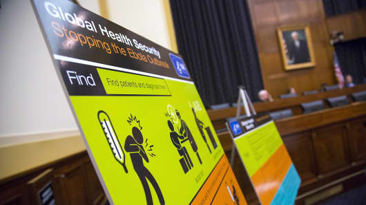 Centers for Disease Control and Prevention (CDC) educational materials are displayed at a House subcommittee hearing about the Ebola crisis in West Africa, on Capitol Hill in Washington.