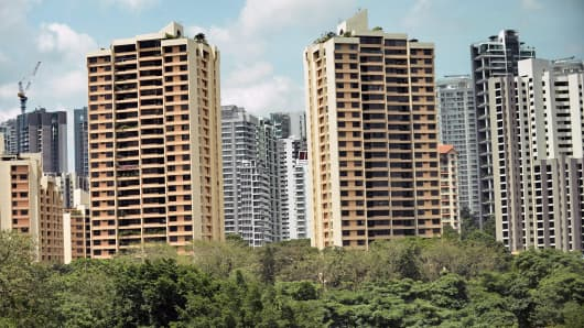 A general view shows private condominiums in Singapore.