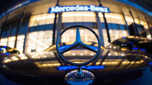 A Mercedes symbol is pictured in front of the Mercedes-Benz Shanghai office.