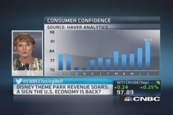 Theme park gauge: Is US economy back?