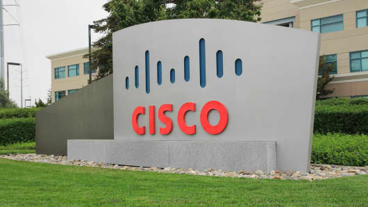 Cisco sign at their campus in San Jose, Calif.