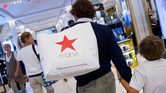 Shoppers at Macy's flagship store in New York,  Aug. 6, 2014.