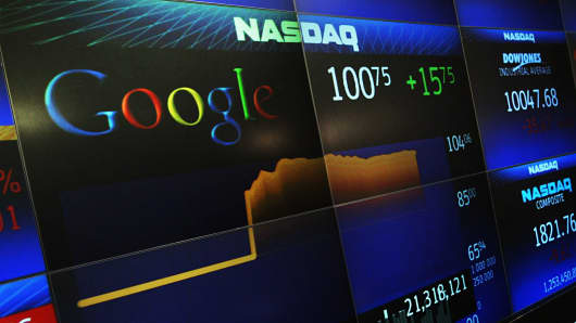 Google's stock price appears on the NASDAQ MarketSite in New York.