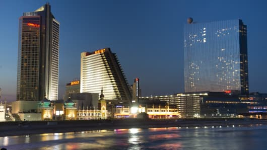 The Trump Taj Mahal, left, the Showboat Atlantic City Hotel and Casino, center, and Revel Atlantic City stand in Atlantic City, New Jersey.