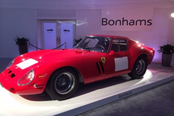 A 1962 Ferrari 250 GTO at auction.