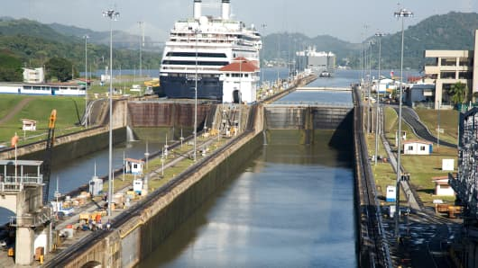 A cruise ship in the Panama Canal