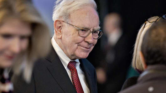 Berkshire Hathaway Chairman and CEO Warren Buffett arrives at the Berkshire Hathaway shareholders meeting in Omaha, Neb.