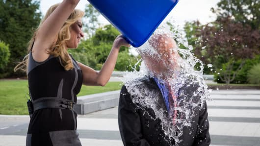 Jim Cramer takes the Ice Bucket Challenge.