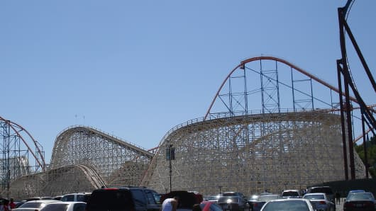 Six Flags Colossus Roller Coaster.