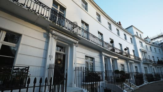A general view of Egerton Crescent in the Royal Borough of Kensington and Chelsea.