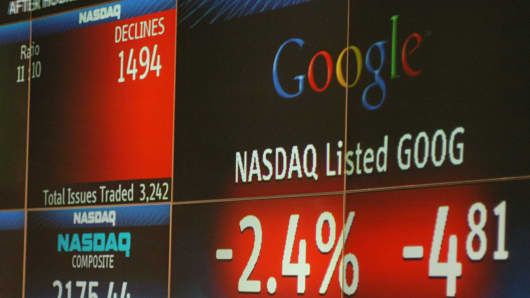 The closing share price of Google is displayed on the Nasdaq Marketsite board in New York, Dec. 31, 2004.