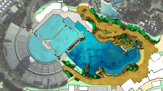 The site plan for SeaWorld's new killer whale environment.