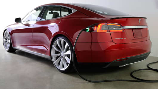 The Tesla Model S electric car.