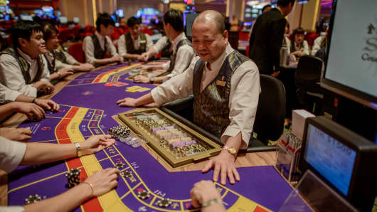 This picture taken on September 19, 2012 shows a Sands casino employees during training in Macau.
