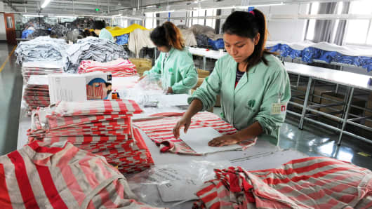 Workers in a clothing factory in Bozhou, China.