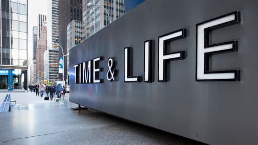 Sign outside the Time & Life building, New York