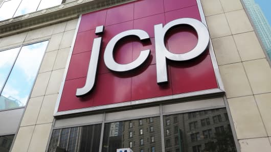 Signage outside a JC Penney store in New York City.