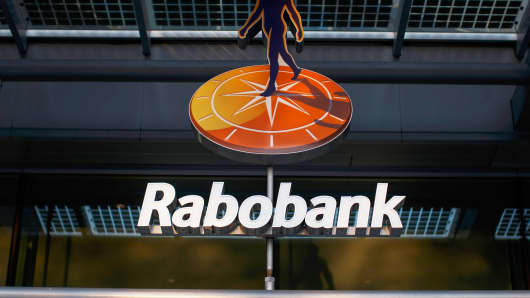 The Rabobank Group logo sits on display on the bank's headquarters in Utrecht, Netherlands.