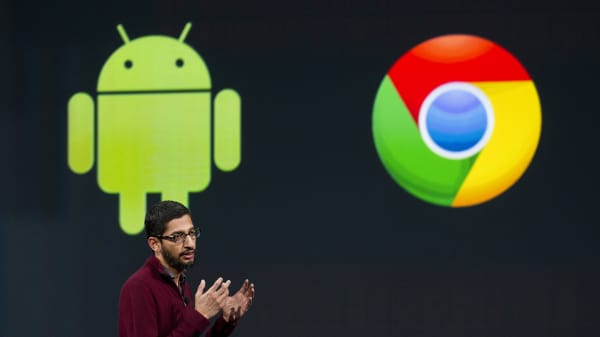 Sundar Pichai, senior vice president of Android, Chrome and Apps for Google Inc., speaks during the Google I/O Annual Developers Conference in San Francisco, California.