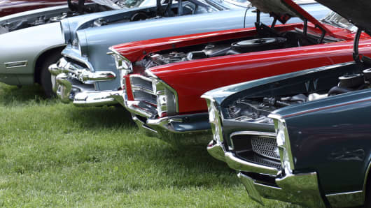 Display of classic automobiles