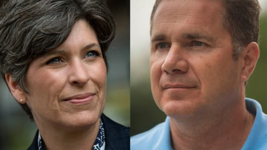 Iowa Senate candidates Joni Ernst and Bruce Braley