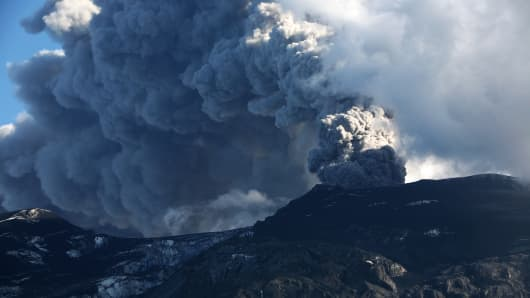Iceland's Eyjafjallajokull during it's eruption, spewing tephra and ash cloud that drift toward continental Europe. 10 May 2010.