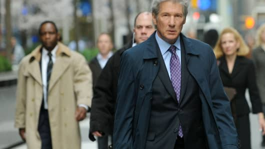 Actor Richard Gere filming on location for 'Arbitrage' on the streets of Manhattan on April 11, 2011 in New York City.