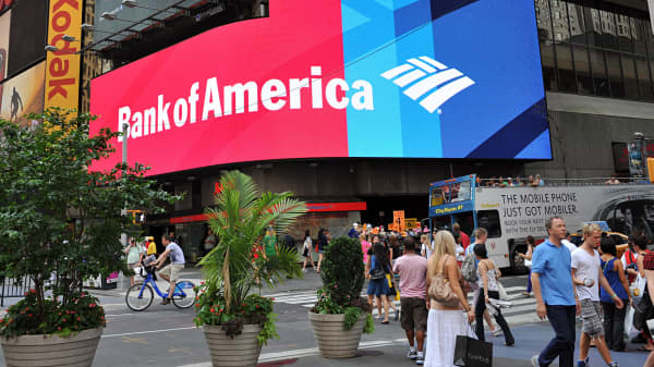 A Bank of America branch is shown in New York's Times Square.
