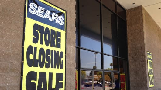 A sign outside the Sears store at the Laguna Hills Mall, Laguna Hills, Calif.