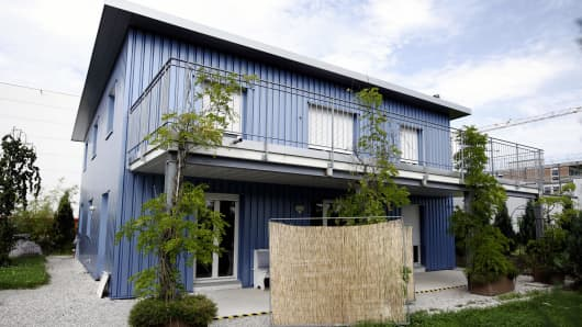This picture taken on July 14, 2009 shows the building of the assisted suicide clinic, Dignitas in Pfaeffikon near Zurich.