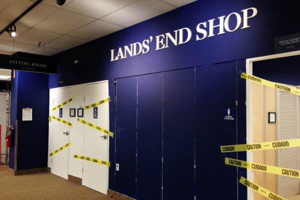 A closed Lands' End section of a Sears store, Laguna Hills, Calif.