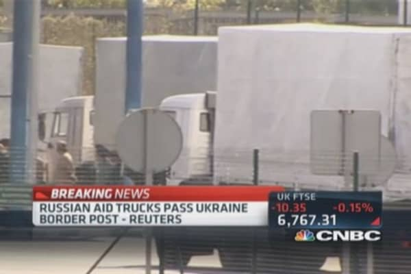 Russian aid trucks pass into Ukraine: Reuters