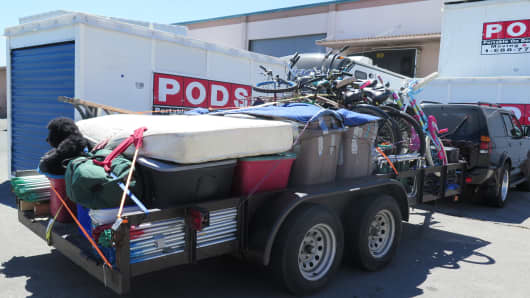 A trailer is loaded up in preparations for the Burning Man Festival.