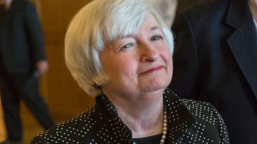 Janet Yellen enters the opening reception of the Jackson Hole Economic Policy Symposium in Jackson Hole, Wyoming August 21, 2014.
