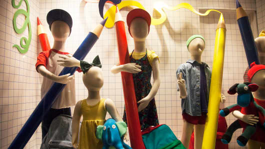 A back-to-school window display in New York City.