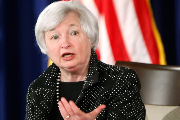 Federal Reserve Chair Janet Yellen speaks during a news conference.
