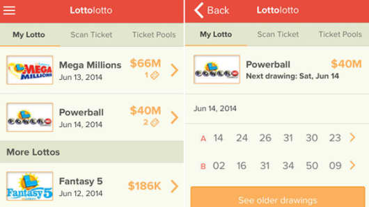 Screens from the LottoLotto app