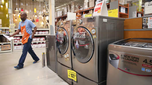 Household appliances for sale at a Home Depot in Chicago.
