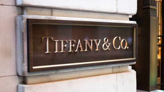 A sign outside a Tiffany store in New York City.