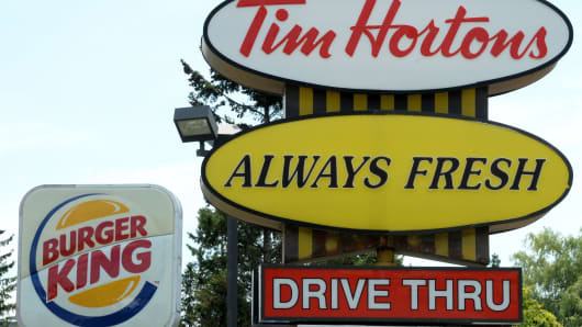 A Burger King sign and a Tim Hortons sign are displayed on St. Laurent Boulevard in Ottawa, Canada.