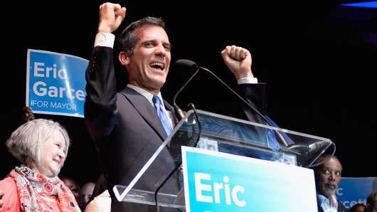 LA Mayor Eric Garcetti on election day, May 21, 2013.
