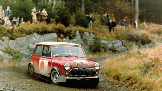A classic Mini racecar. The Mini is celebrating its 55th anniversary.