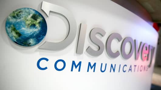 The Discovery Communications logo is shown on the exhibit floor during the National Cable and Telecommunications Association (NCTA) Cable Show in Washington.
