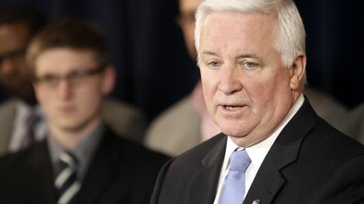 Pennsylvania Gov. Tom Corbett speaks at a news conference in State College, Penn.