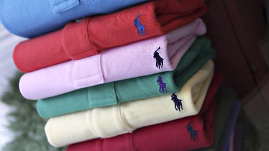 Ralph Lauren Polo shirts are on display in a store window in New York.