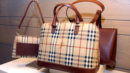 Burberry bags are on display at Bloomingdale's in New York.