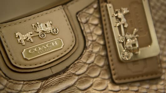The Coach logo is seen on a handbag at a store in New York.