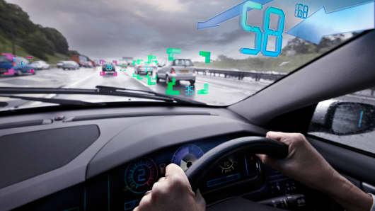 The future of driving could involve technology that allows drivers to see how fast other cars on the road are moving.