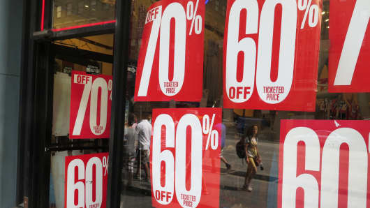 Sale signs at a retail store in New York.