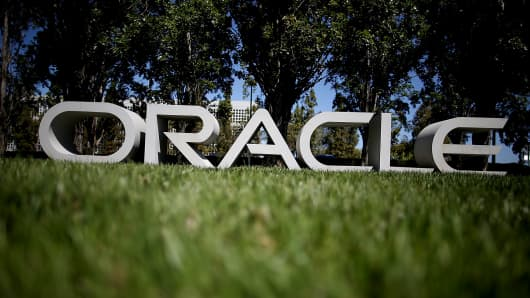 A sign in front of Oracle's headquarters is shown in Redwood Shores, Calif.